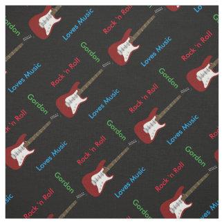 Elegant Guitar Print Fabric