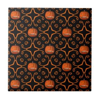 Elegant Halloween jack o lantern kaleidoscope Tile