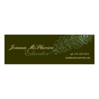 Elegant Hand Drawing  Peacock Feather Pack Of Skinny Business Cards