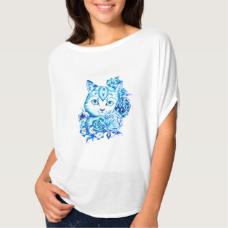 Elegant Hand Drawn 10 Blue Shades Cat Circle Top
