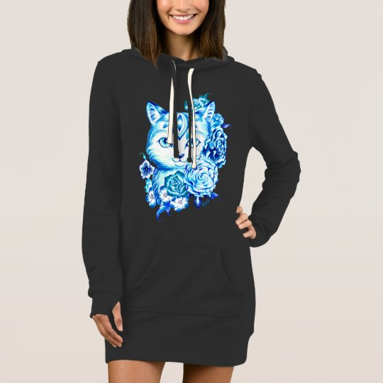 Elegant Hand Drawn 10 Blue Shades Cat Hoodie