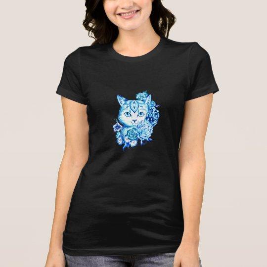 Elegant Hand Drawn 10 Blue Shades Cat Shirt