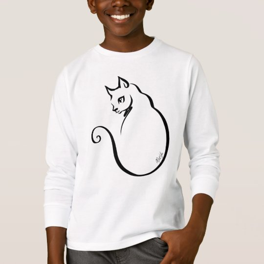 Elegant Hand Drawn Cat Boy's Long Sleeve Shirt