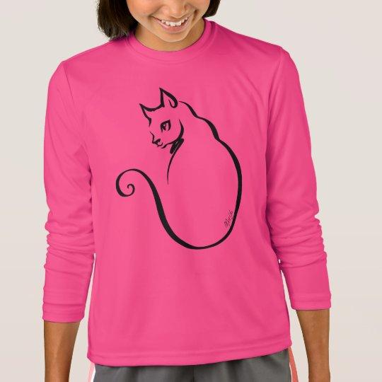 Elegant Hand Drawn Cat Girl's Long Sleeve Shirt