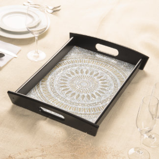 Elegant hand drawn tribal mandala design serving tray