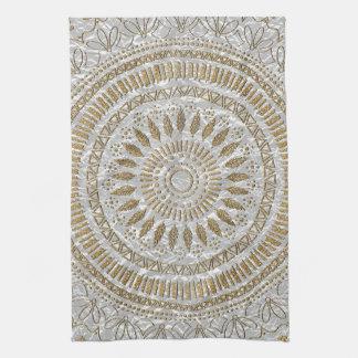 Elegant hand drawn tribal mandala design tea towel