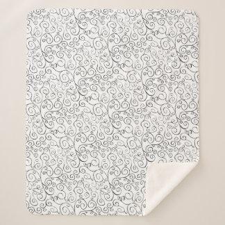 Elegant Hand-Painted Black Scroll Pattern on White Sherpa Blanket