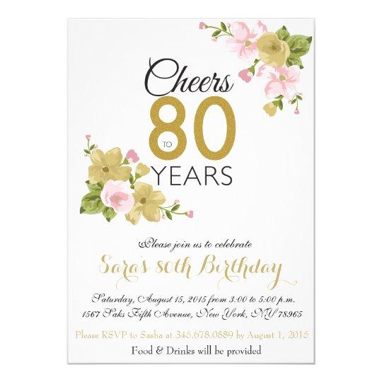 Elegant Hand Painted Flower 80th Birthday Invite