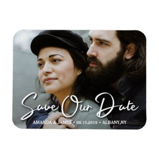 Elegant Handwritten Script Photo Save The Date Magnet