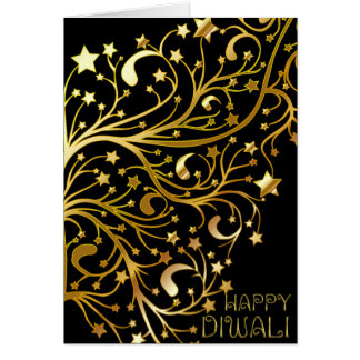 Elegant Happy Diwali Stars Black Gold Shiny Card