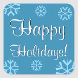 Elegant Happy Holidays in Blue with Snowflakes Stickers