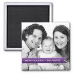 Elegant Happy Holidays Purple Ribbon Family Photo