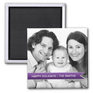 Elegant Happy Holidays Purple Ribbon Family Photo Square Magnet