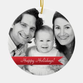 Elegant Happy Holidays Red Ribbon Family Photo Round Ceramic Decoration