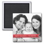 Elegant Happy Holidays Red Ribbon Family Photo Square Magnet