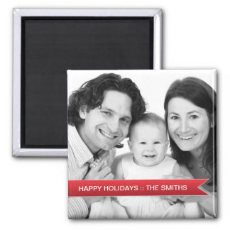 Elegant Happy Holidays Red Ribbon Family Photo Square Magnet