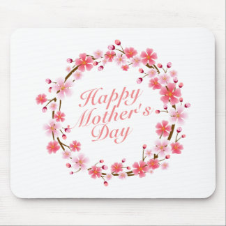 Elegant Happy Mother's Day Floral Wreath Mousepad