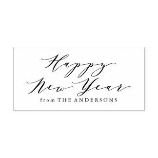 Elegant Happy New Year | Return Address Stamp