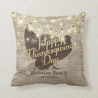 Elegant Happy Thanksgiving Day Turkey String Light Cushion