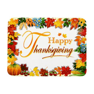Elegant Happy Thanksgiving Greetings Magnet