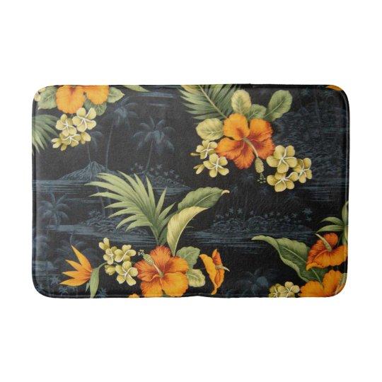 Elegant Hawaiian Orange Hibiscus Flower Pattern Bath Mats