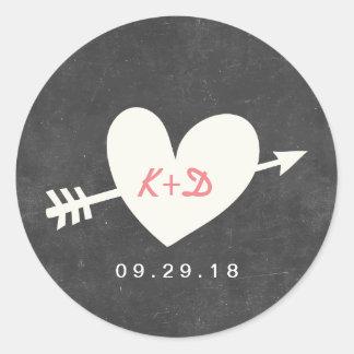Elegant Heart & Arrow Chalkboard Wedding Round Sticker