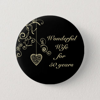 Elegant Heart Golden Wedding Anniversary 6 Cm Round Badge