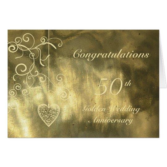 Elegant Heart Golden Wedding Anniversary Card