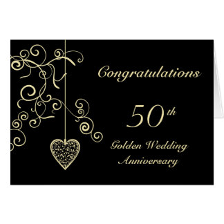 Elegant Heart Golden Wedding Anniversary Greeting Card