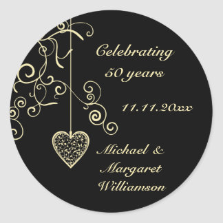 Elegant Heart Golden Wedding Anniversary Round Sticker