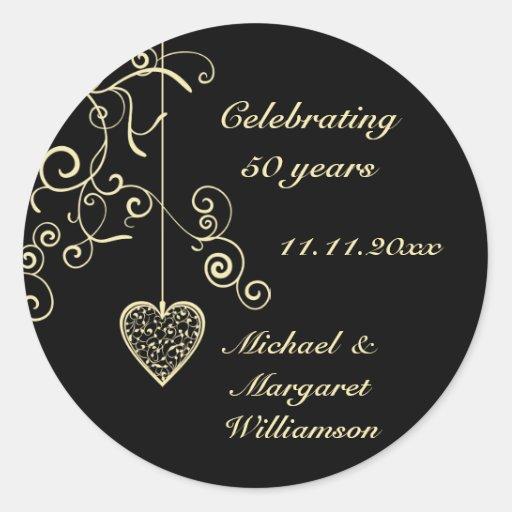 Elegant Heart Golden Wedding Anniversary Sticker