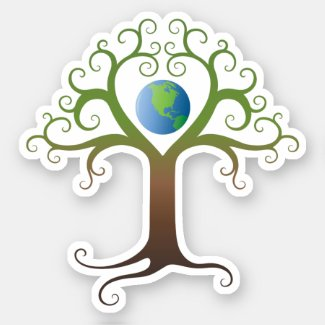 Elegant heart tree with planet earth