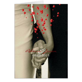 elegant hearts black white hands formal wedding greeting card