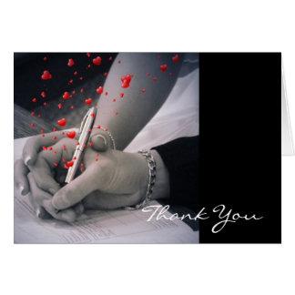 elegant hearts black white hands vintage thank you note card