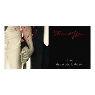 elegant hearts black white hands vintage wedding photo greeting card