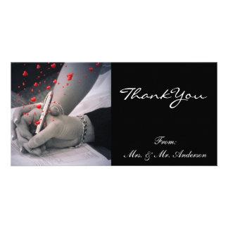 elegant hearts black white vintage thank you customized photo card