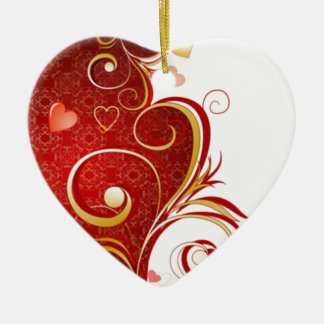 Elegant Hearts On Abstract Background Christmas Ornament