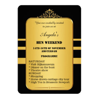 "Elegant Hen Weekend Programme Template Invitation 5"" X 7"" Invitation Card"