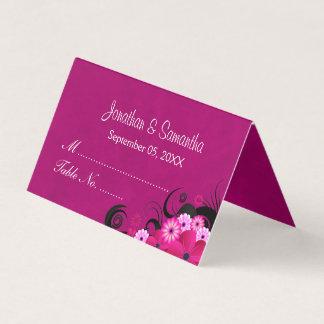 Elegant Hibiscus Floral Dark Fuchsia Folded Table Place Card