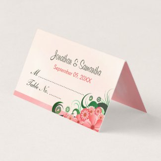 Elegant Hibiscus Floral Light Pink Folded Table Place Card