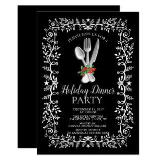 Elegant Holiday Christmas Dinner Invitation