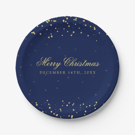 Elegant Holiday Christmas Gold Confetti Dots Navy Paper