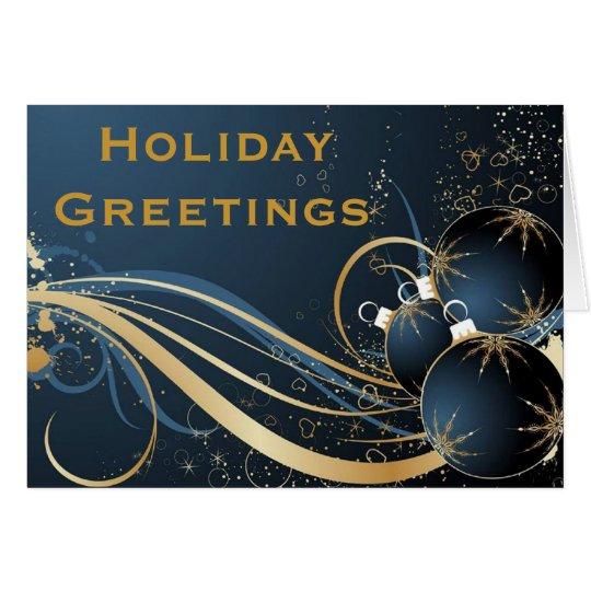 Elegant Holiday Greetings in Blue Card