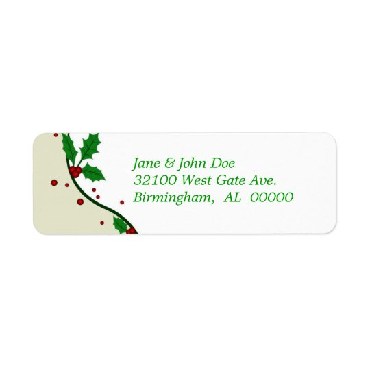 Elegant Holiday Holly Address Labels