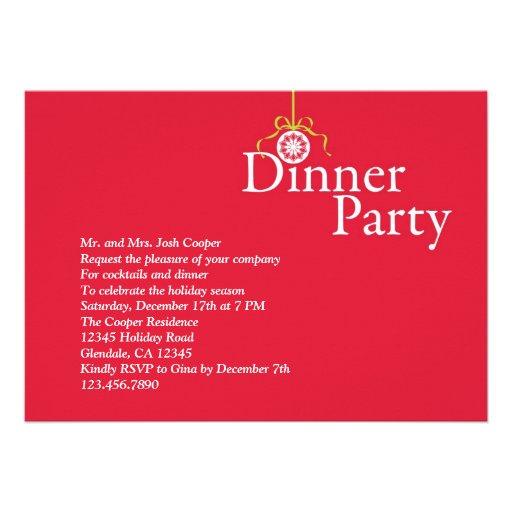 Elegant Holiday Ornament Dinner Party Invitation