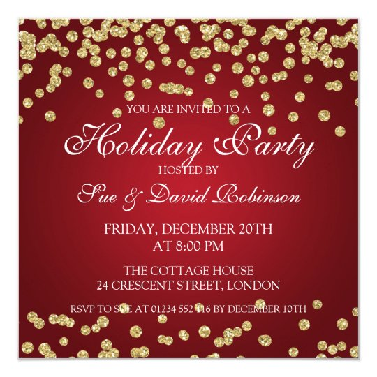 Elegant Holiday Party Gold Glitter Confetti Red Card