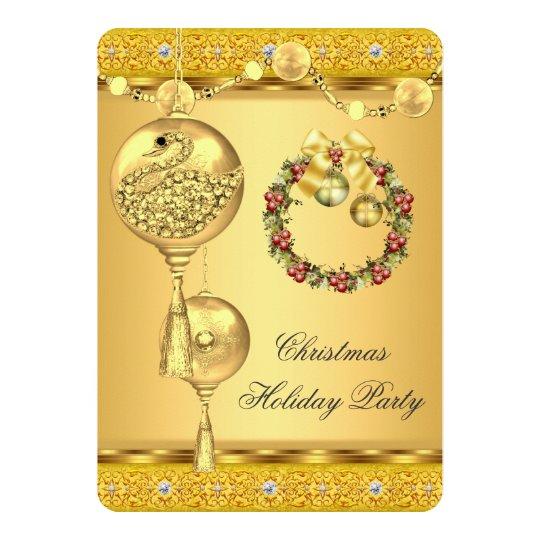 Elegant Holiday Party Gold Yellow Christmas Card