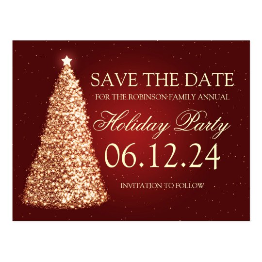 Elegant Holiday Party Save The Date Gold Red