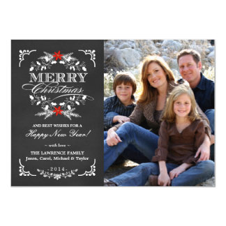 Elegant Holly Chalkboard Christmas Photo Flat Card