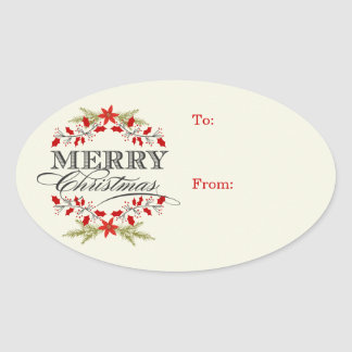 Elegant Holly Christmas Typography Gift Tags Oval Sticker